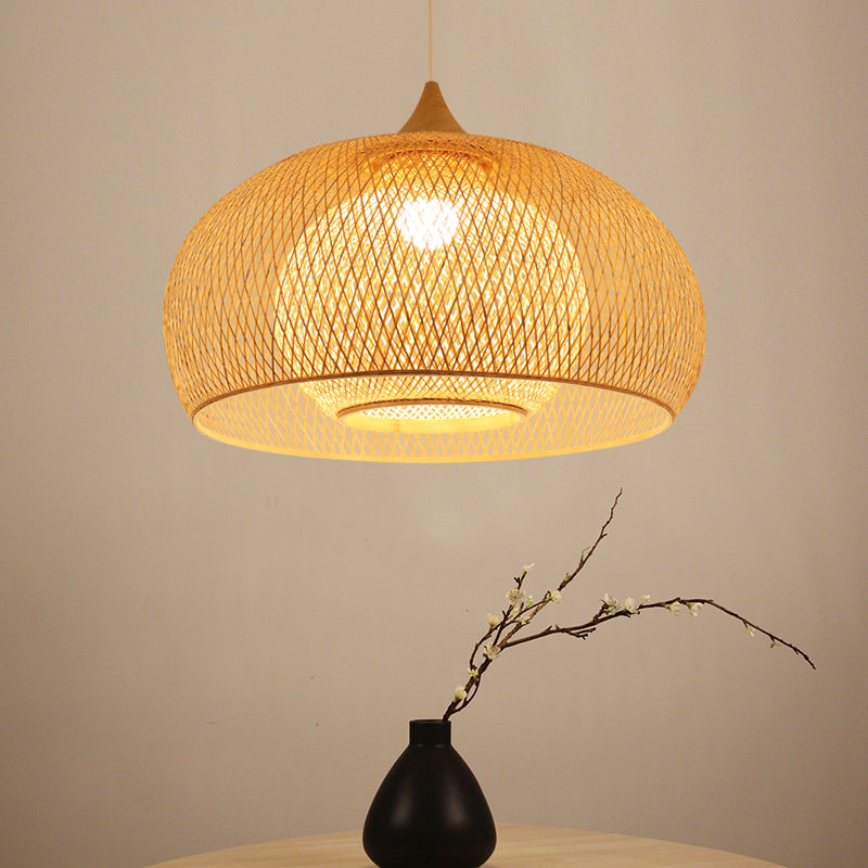 Bamboo Drum Hanging Ceiling Lights Woven Chandelier Lamp Shades