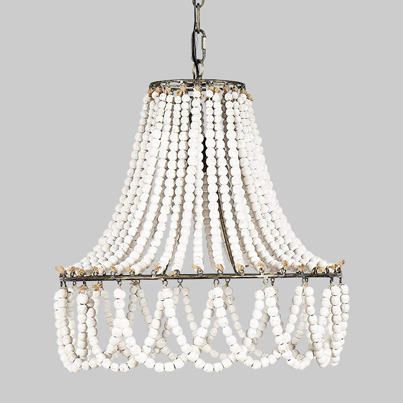 Vintage Wood Bead Suspension Lighting Pendant Lamp