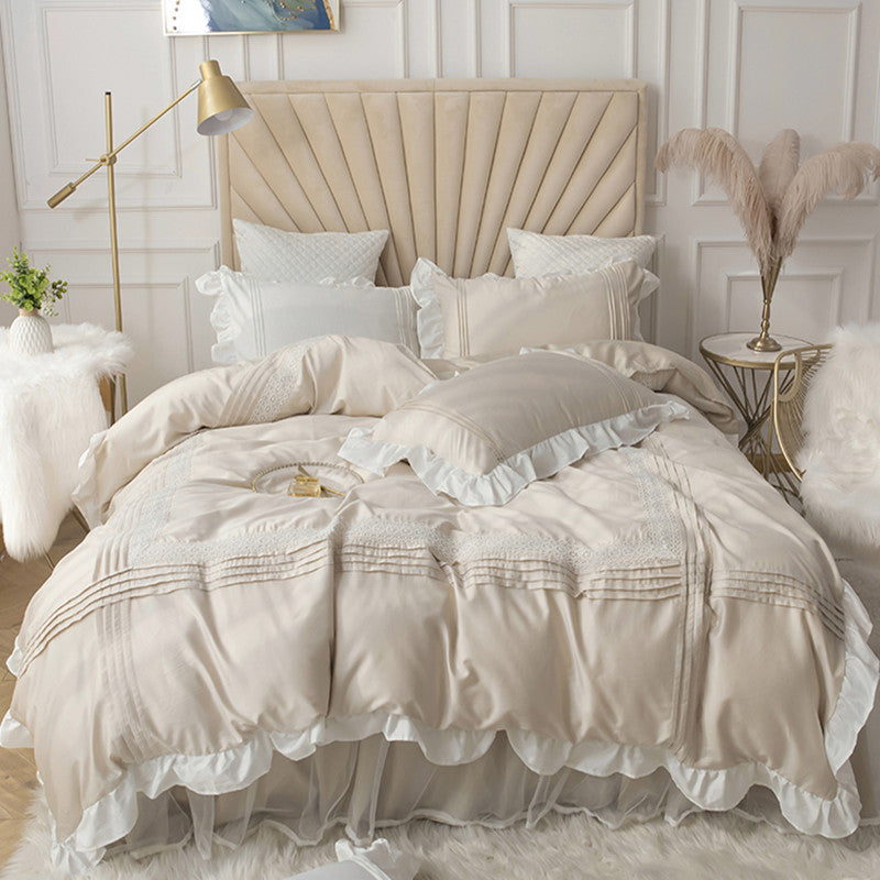INS Cotton Girl Bedding Set Ruffles Sheet Duvet Cover