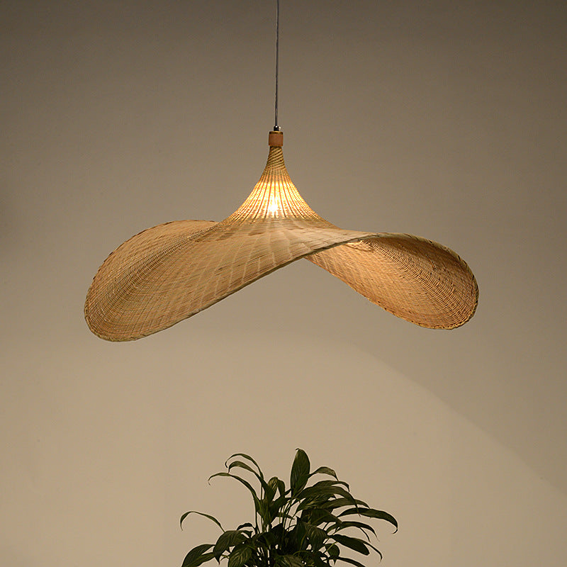 Handmade Bamboo Wicker Straw Hat Pendant Light Shade