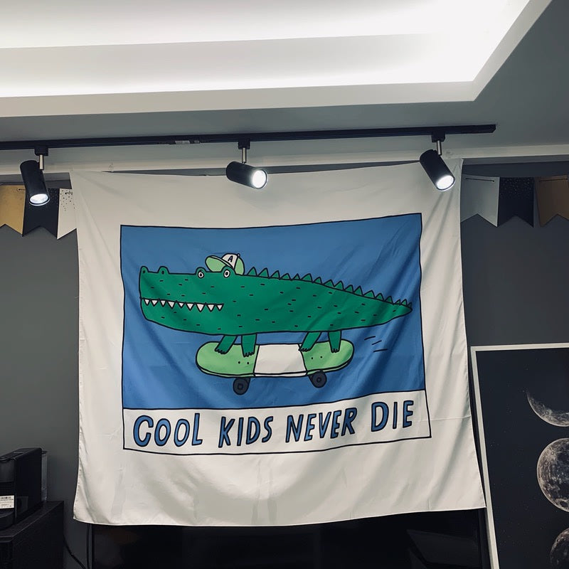 Cartoon Tapestry Crocodile Cool kids Wall Hanging Tapestry