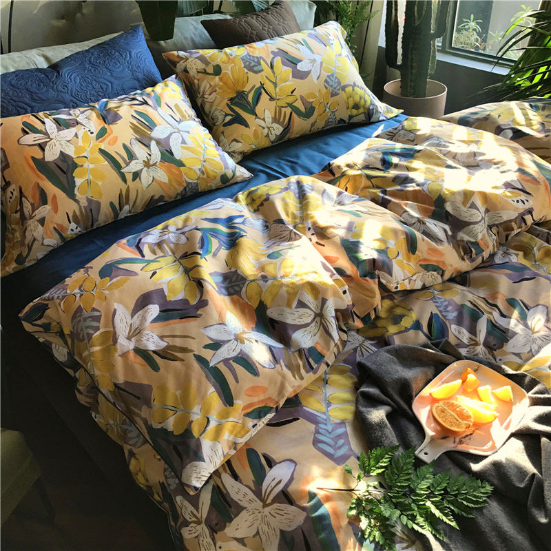 Cotton Bedding Set Luxury Duvet Cover Set Bed Sheet Pillowcase