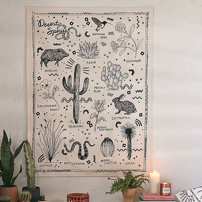 Bohemian Desert Species Wall Hanging Tapestry
