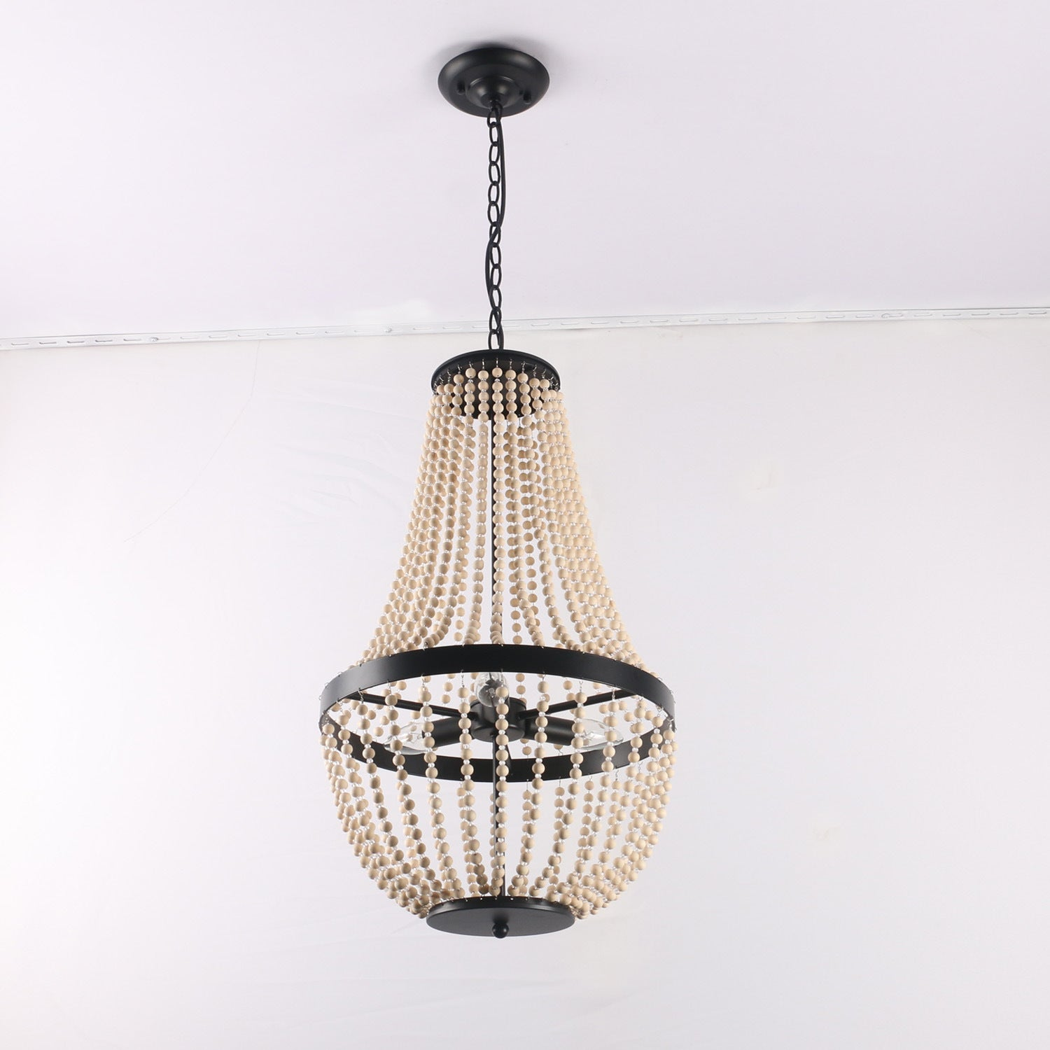 Decorative Wood Beaded Empire Pendant Light