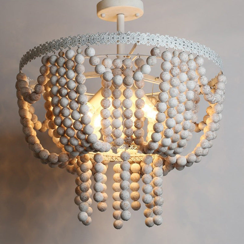 Vintage Retro Chandelier Round Wooden Beads Pendant Light