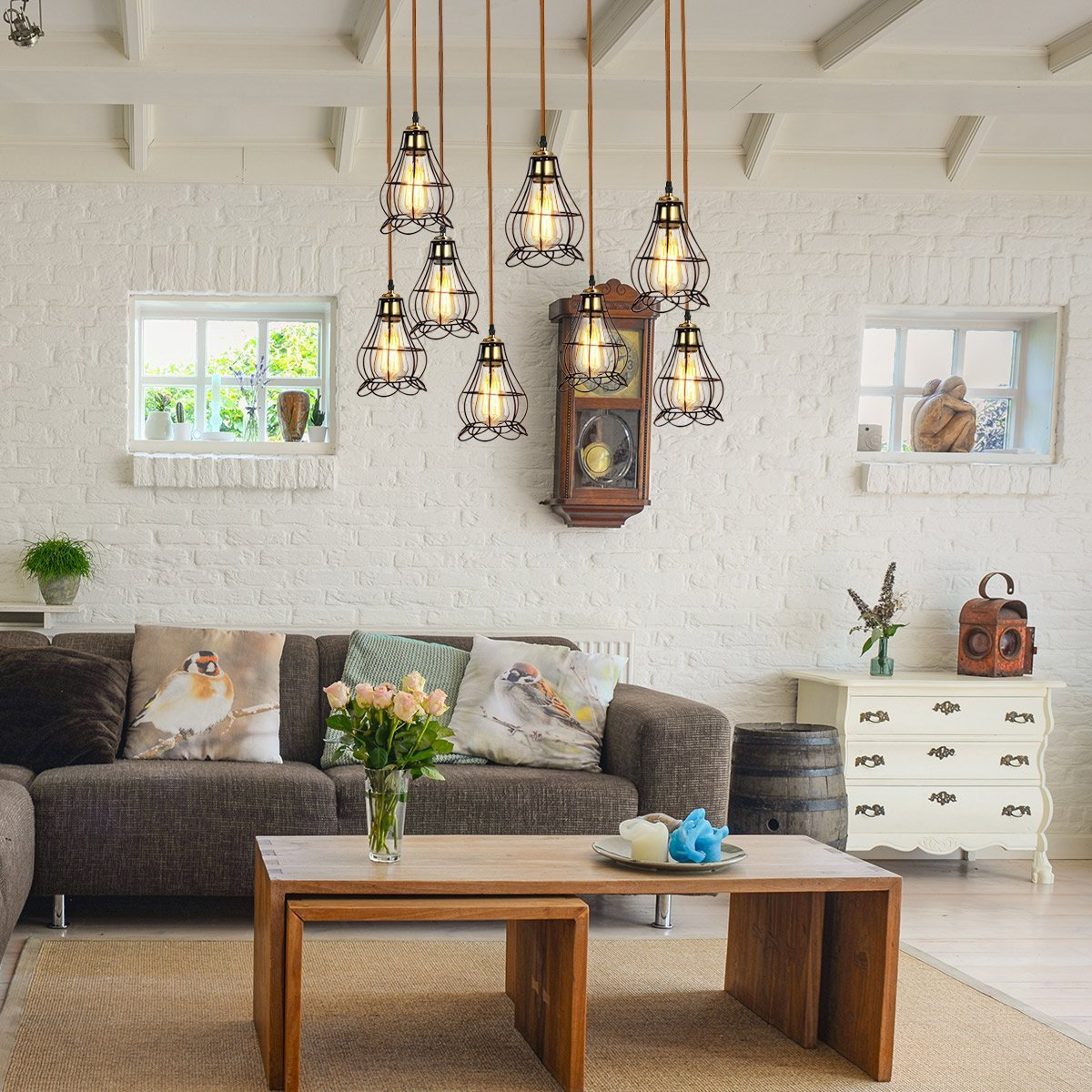 Industrial Gold Metal Pendant Light Chandelier For Living Room