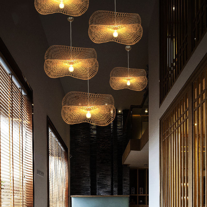Handmade Bamboo Wicker Pendant Lighting Lampshade