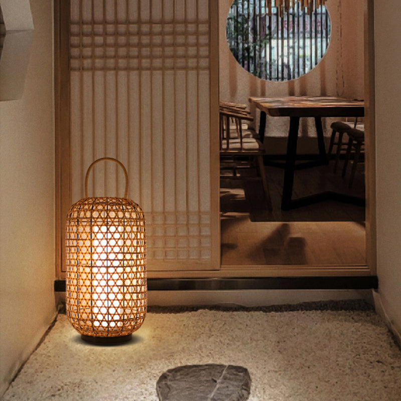 Japanese Natural Bamboo Woven Floor Lamps For Living Room