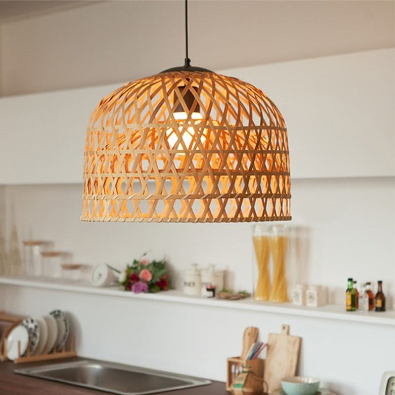 Country Basket Bamboo Woven Pendant Light Shade