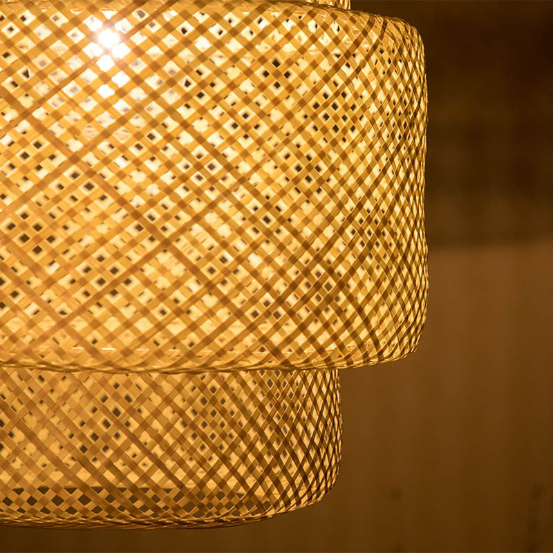 Home Decor Bamboo Pendant Light Handmade Weave Lampshade