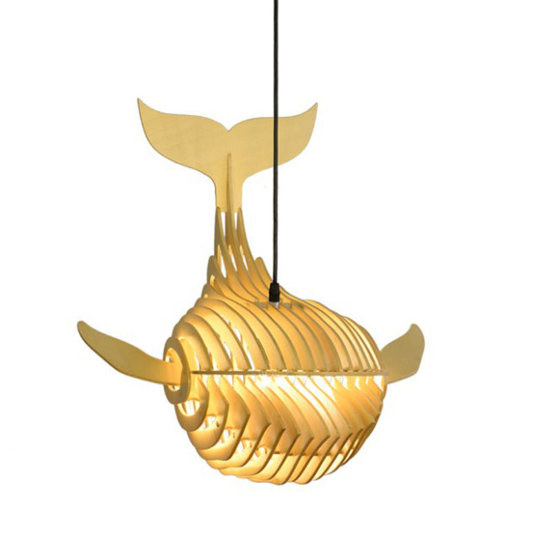 Japanese Whale Chandelier Wood Pendant Light Shade