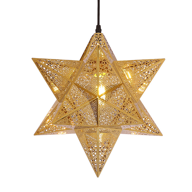 Creative Five-pointed Star Metal Hollow Out Chandelier