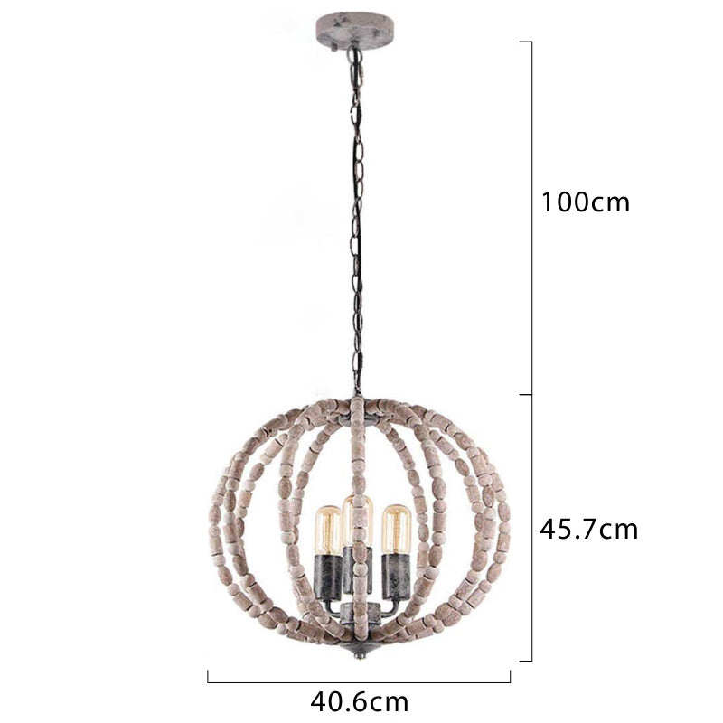 Round Wood Bead Ceiling Light Loft Pendant Lamp