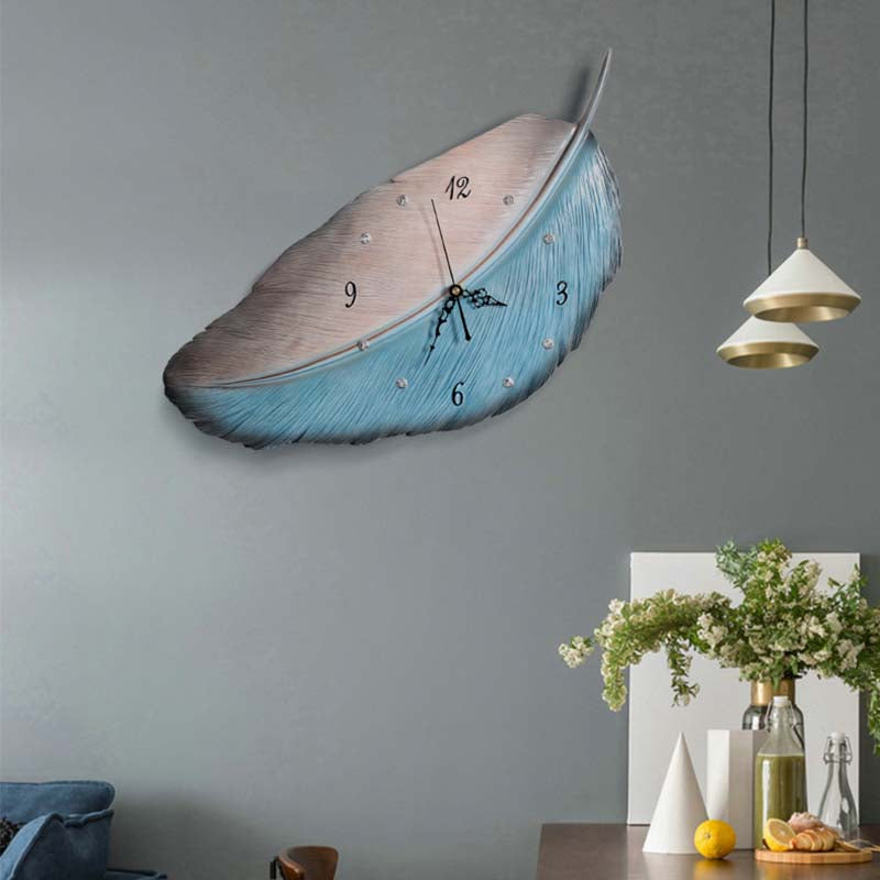 Nordic Creative Feather Wall Clock For Living Room