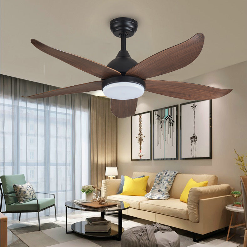 "42"" 5-Blade Black Wooden LED Ceiling Fan With Remote Control"