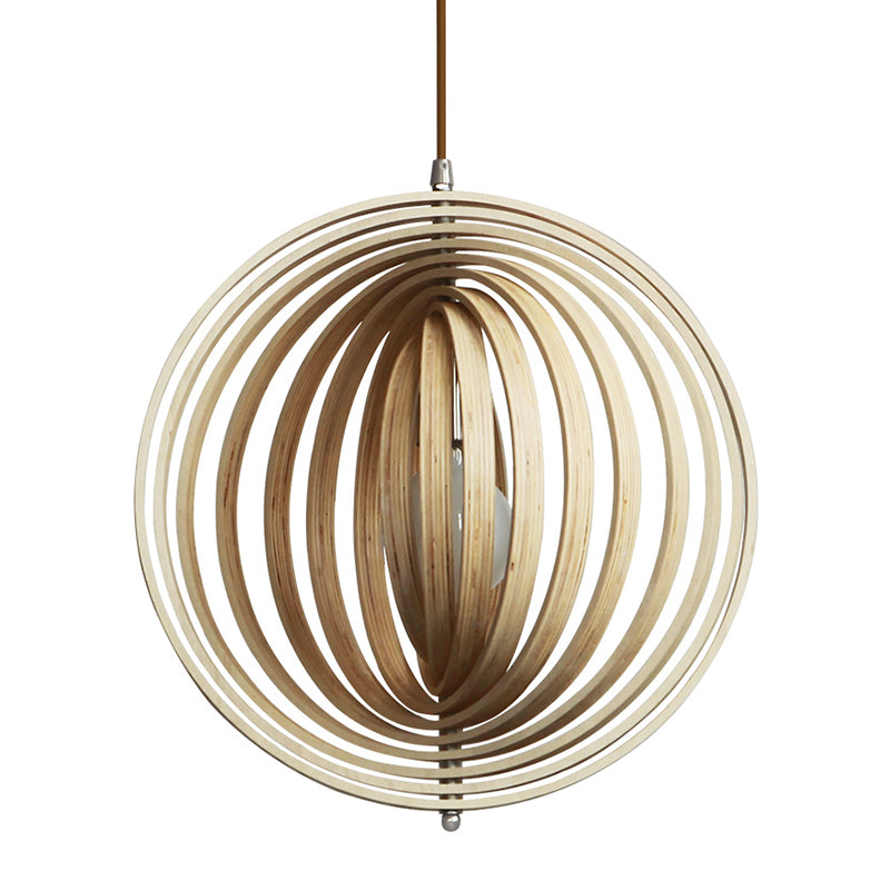 Creative Wood Round Globe Pendant Light Fixture Shade