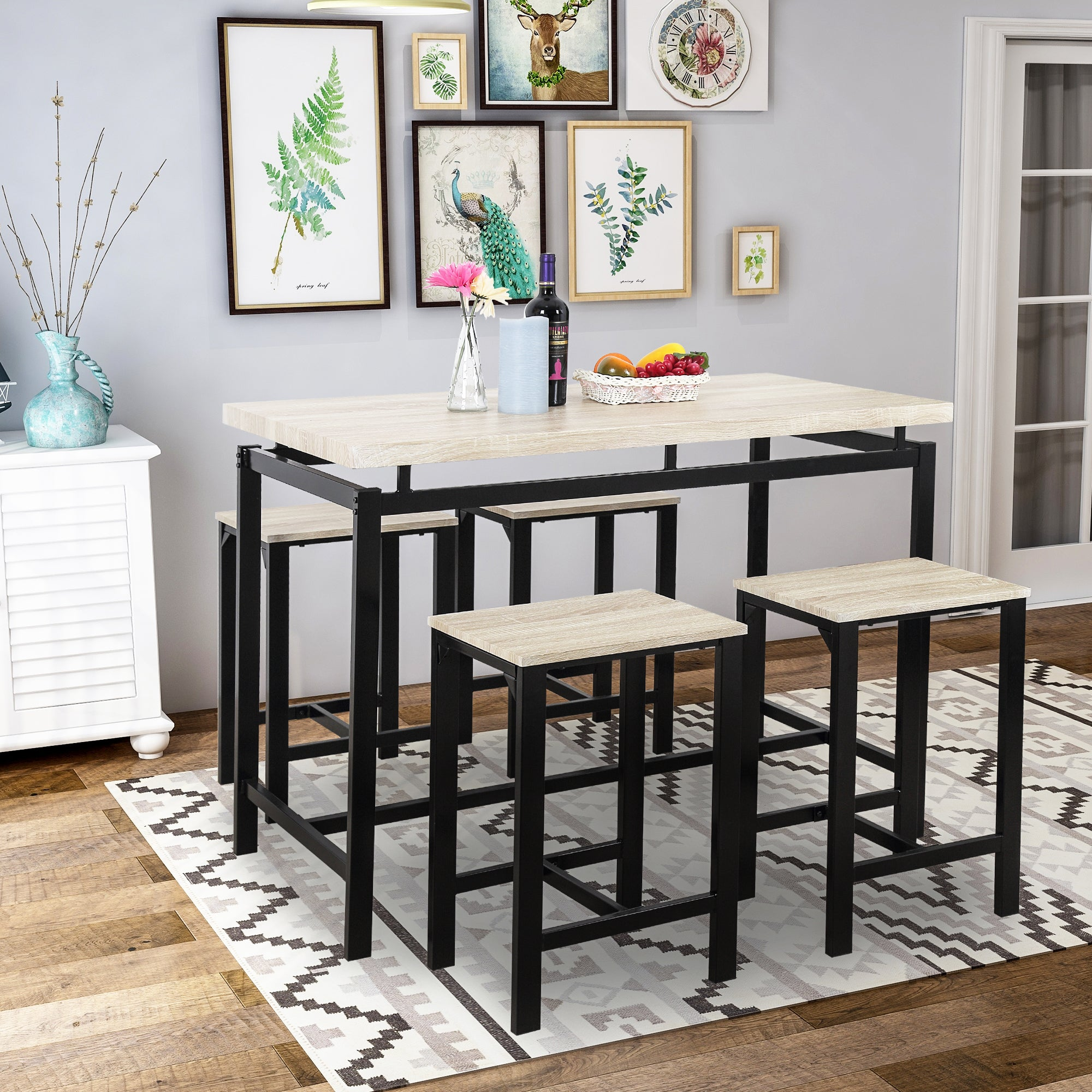 5 Piece Bar Dining Table Set