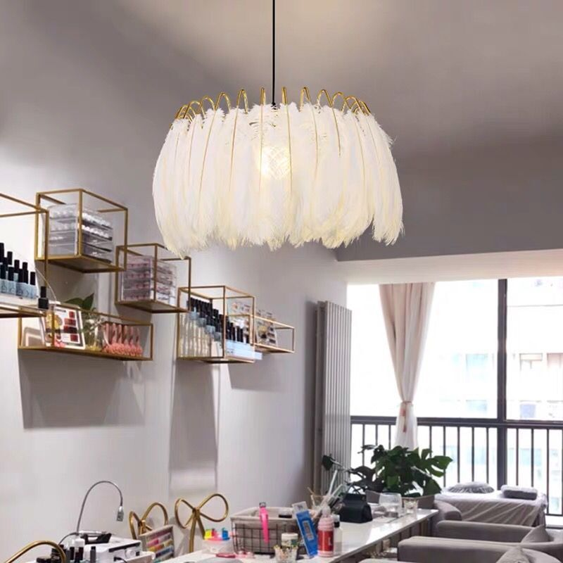 Romantic Feather Hanging Light INS Nordic Pendant Light For Bedroom