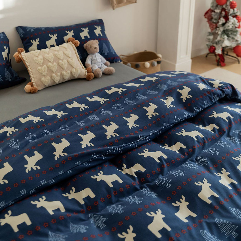 Funny Bear Knitted Cotton Bedding Set For Girls