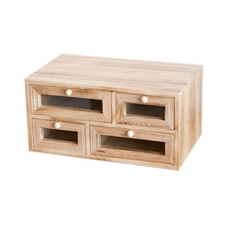 Solid Wood Rectangle Desktop Cosmetic Storage Box