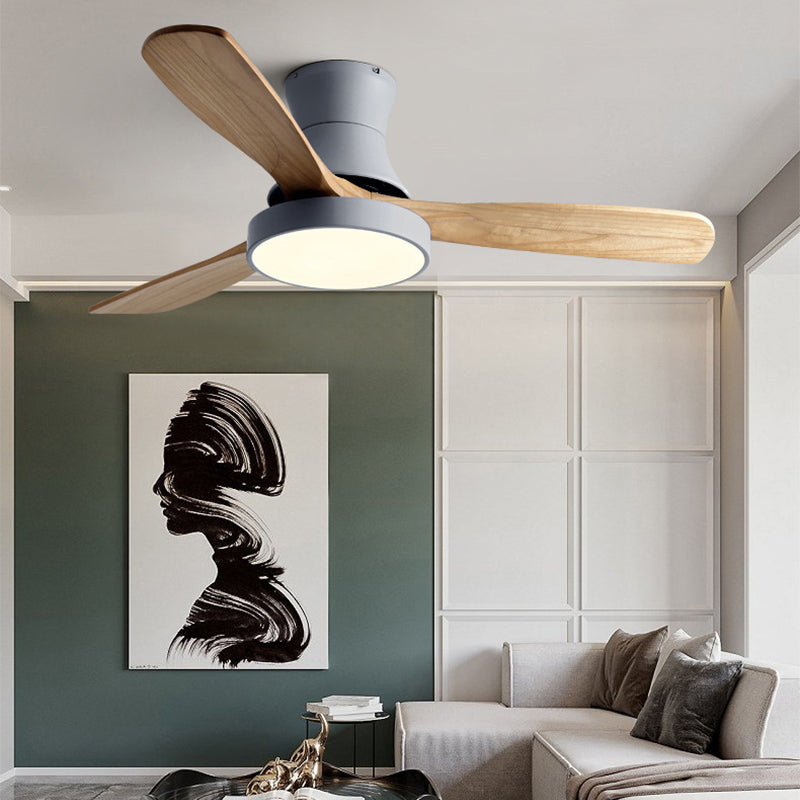 Modern Wood Suction Ceiling Fan with Light LED