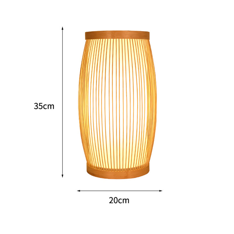 Creative Bedroom Beside Table Lampshade Japanese Handmade Bamboo Desk Light