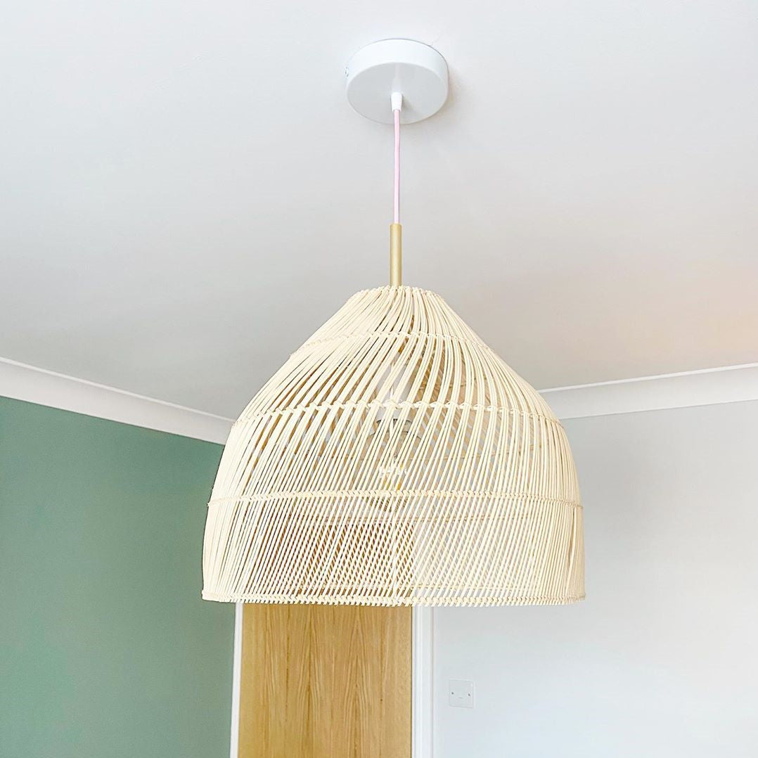 Natural Rattan Basket Pendant Lamp Shades For Living Room