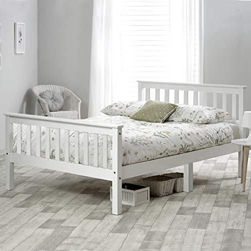 Wooden Bed in White For Adults