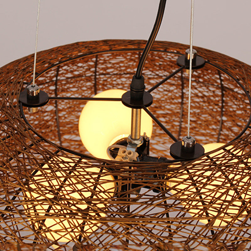Three Bulbs Hanging Lights Rattan Woven Pendant Lamp Shades