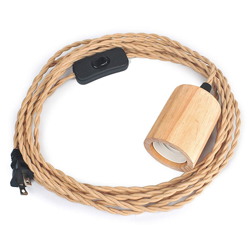 Industrial 16.4FT Wood Pendant Light Cord Kit with Switch