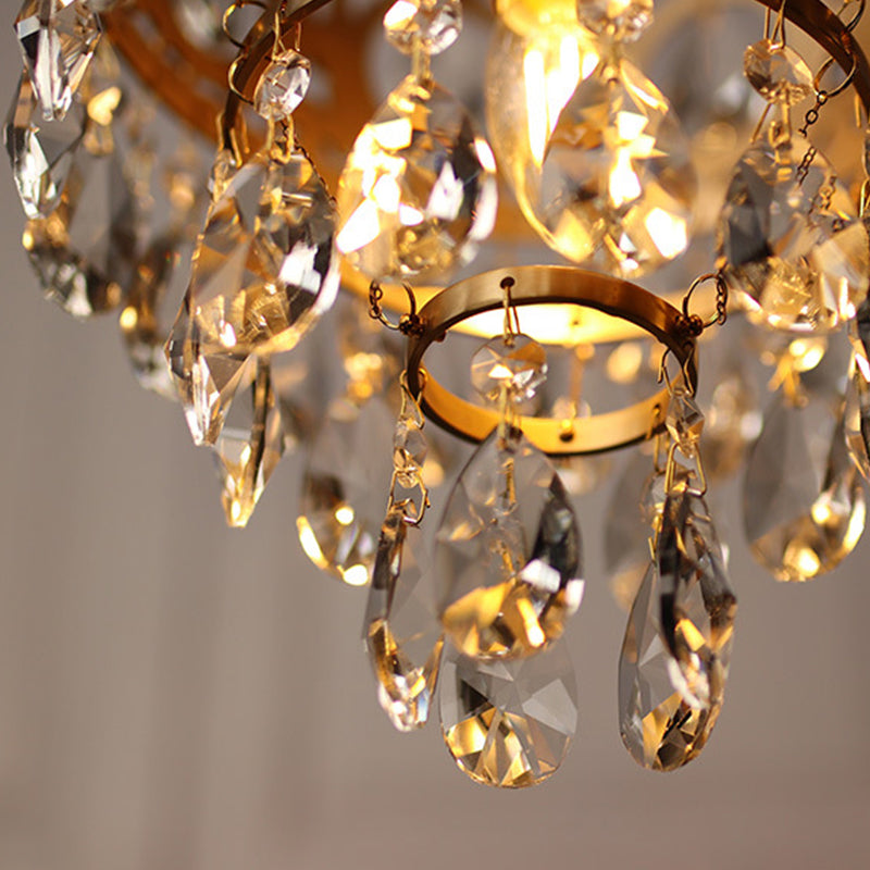 Luxury Brass Crystal Chandelier Vintage Bedroom Lighting