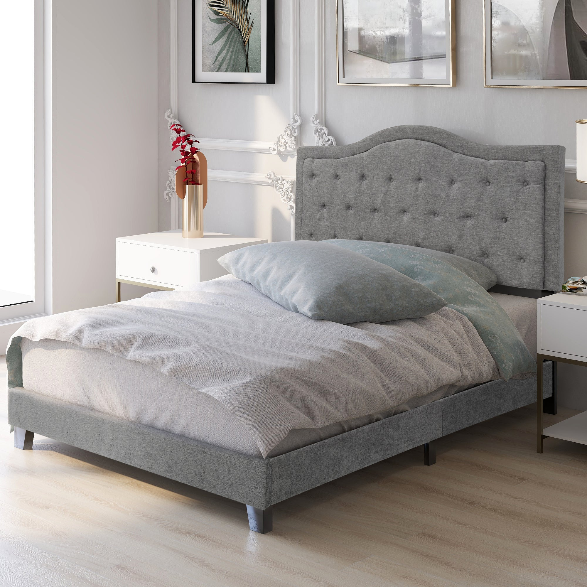 Classic style Upholstered Linen Grey Bed Frame