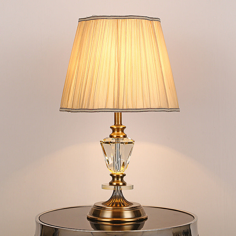 Gold Beside Table Lamp Crystal Led Desk Light For Bedroom
