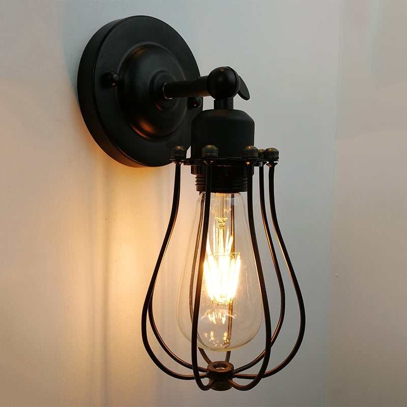 American Retro Industrial Wrought Iron Corridor Wall Lamp Stair Lamps