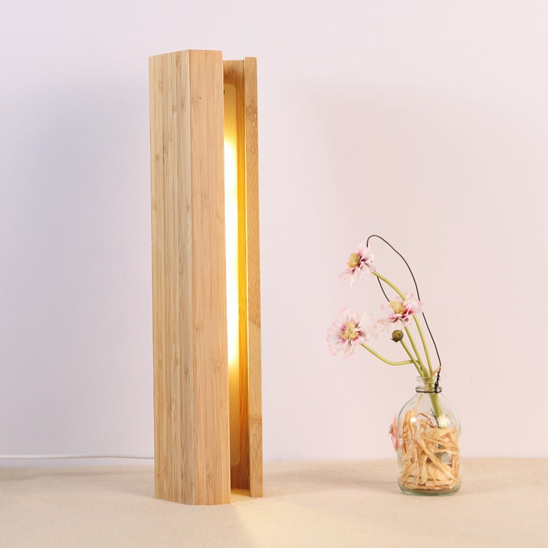 Wood Pentagonal Led Table Lamp With USB