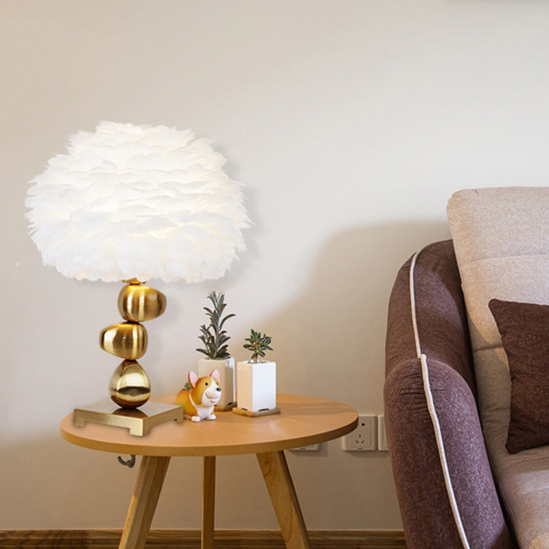 Nordic Feather Bedroom Living Room Table Lamp