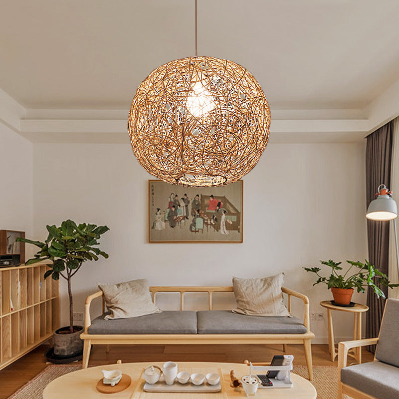 Creative Globular Rattan Pendant Lamp Shades For Hanging Lamps