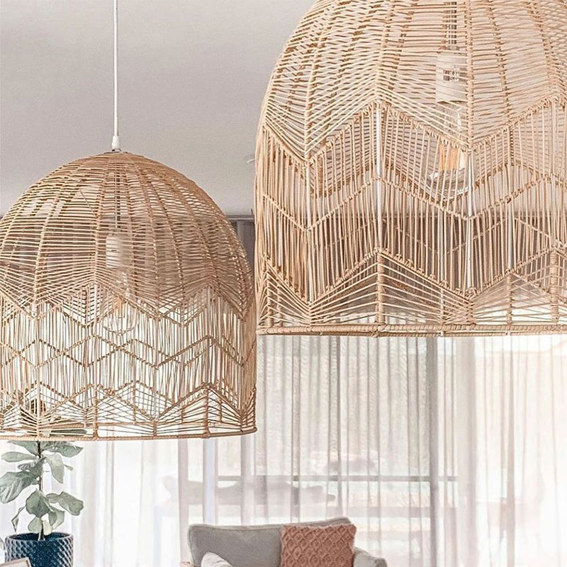Handmade Basket Rattan Pendant Light Shades For Living Room