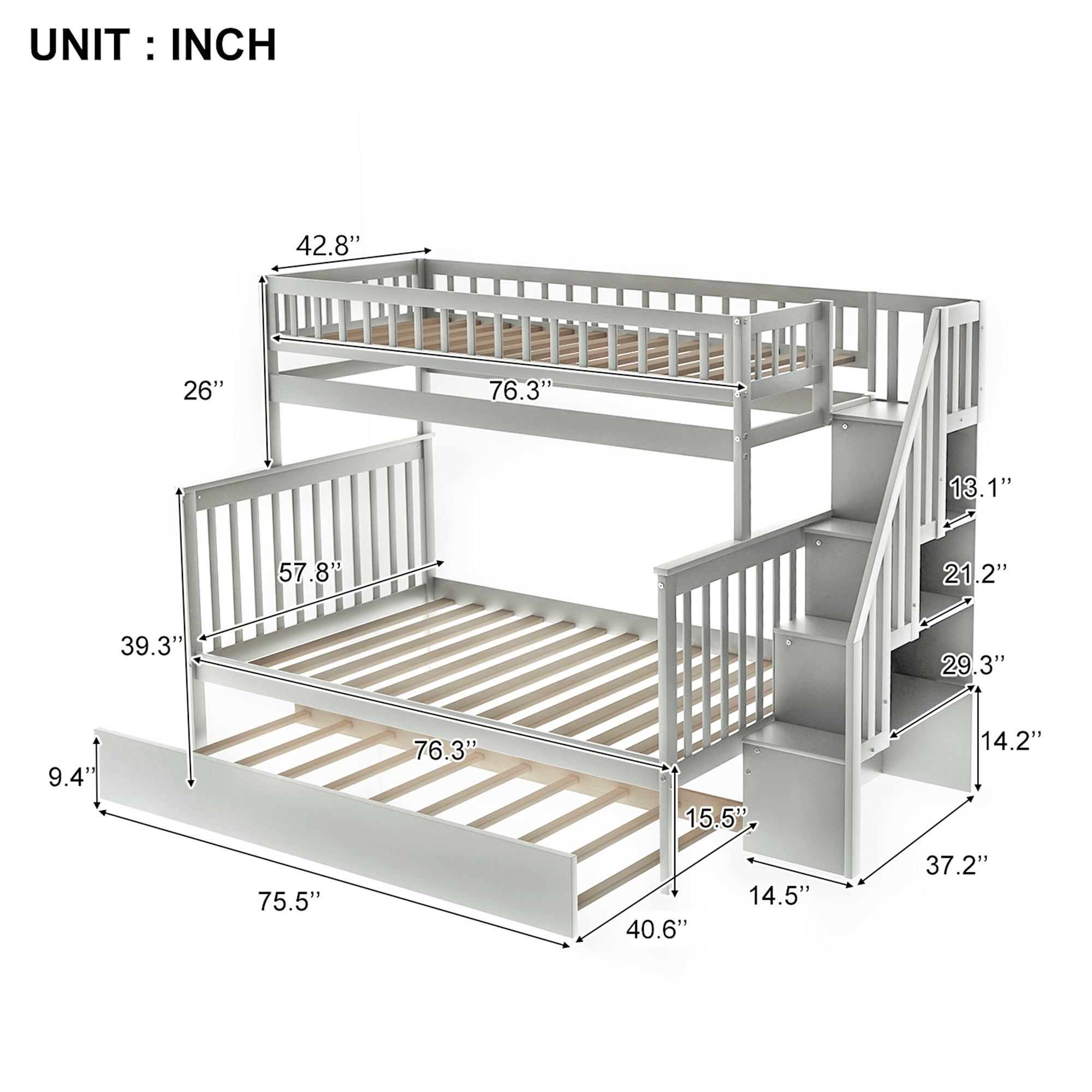 Twin Over Full Stairway Bunk Bed With Trundle And Shelves