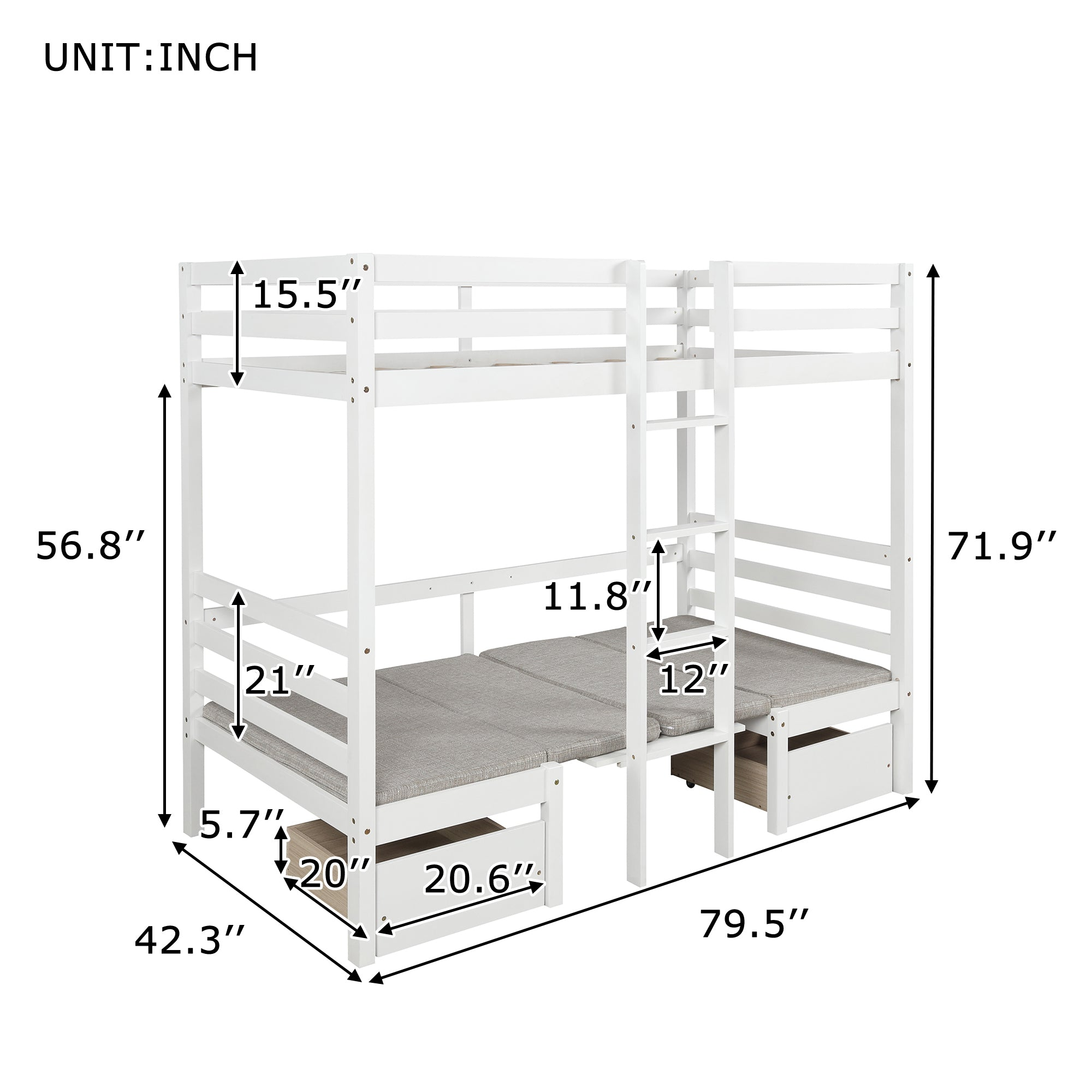 Twin Bunk Configurations Bed With Two Drawers and Desk