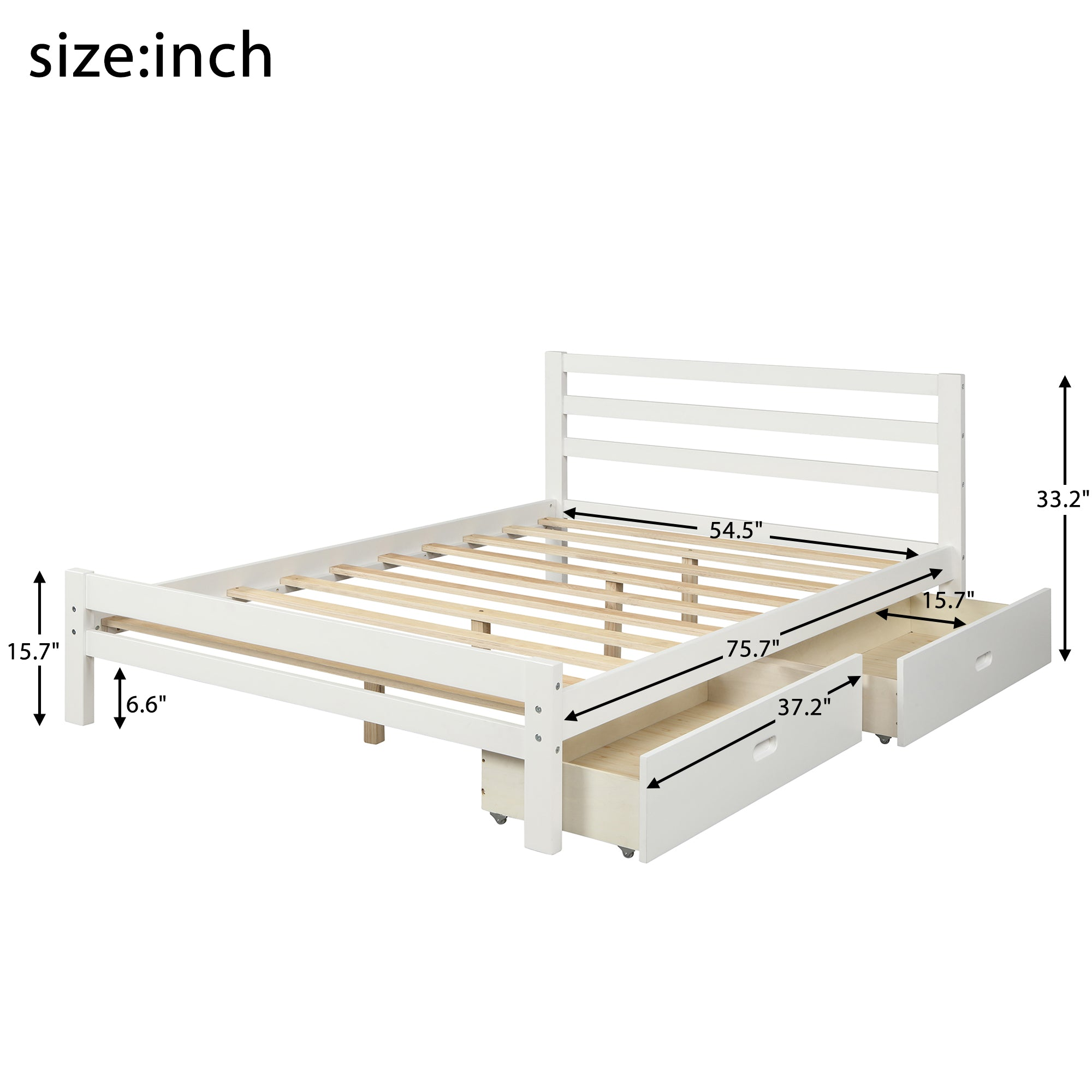 Full Size Wood Platform Bed With Two Drawers