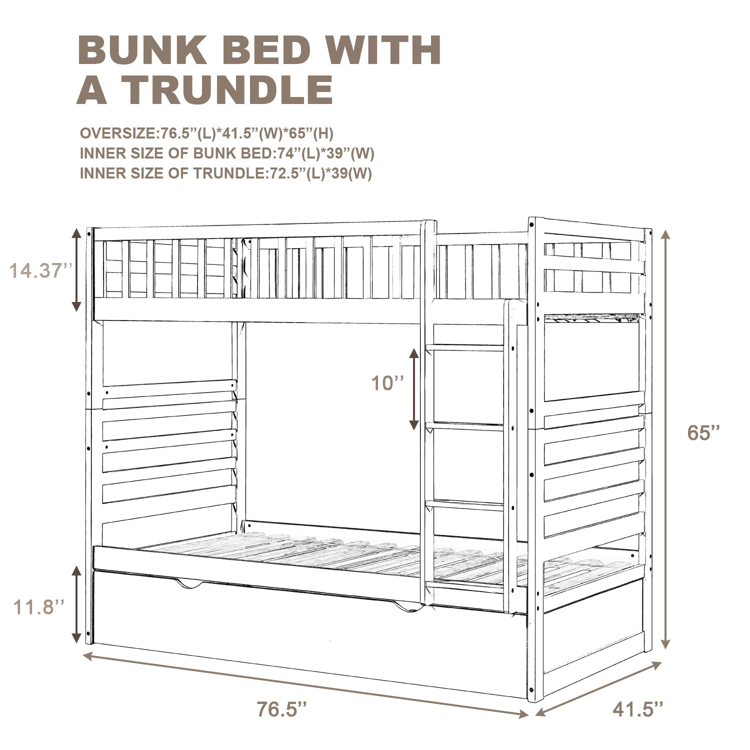 Twin over Twin Bunk Bed with Trundle For Kids