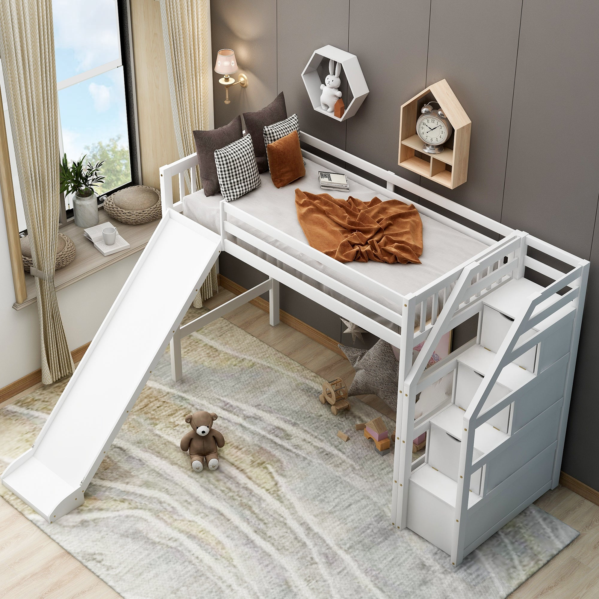 Twin Size Loft Bed With 4 Drawers For Kids Bedroom