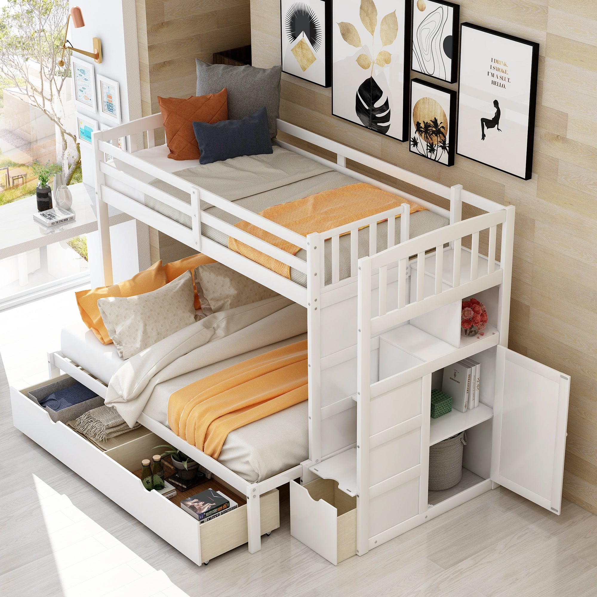 Twin/Full Bunk Bed with Storage Drawer and Cabinet
