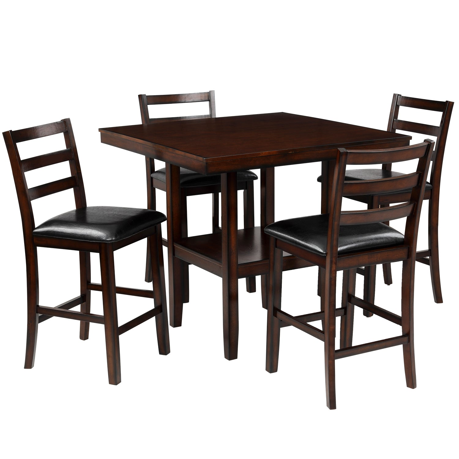 5-Piece Wooden Counter Height Dining Set