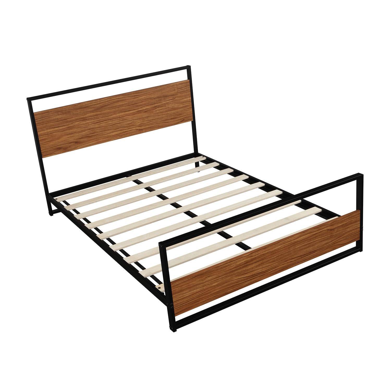 Full Size Metal and Wood Platform Bed