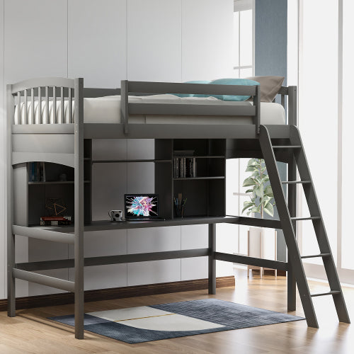 Twin Size Loft Bed with Desk and Shelves