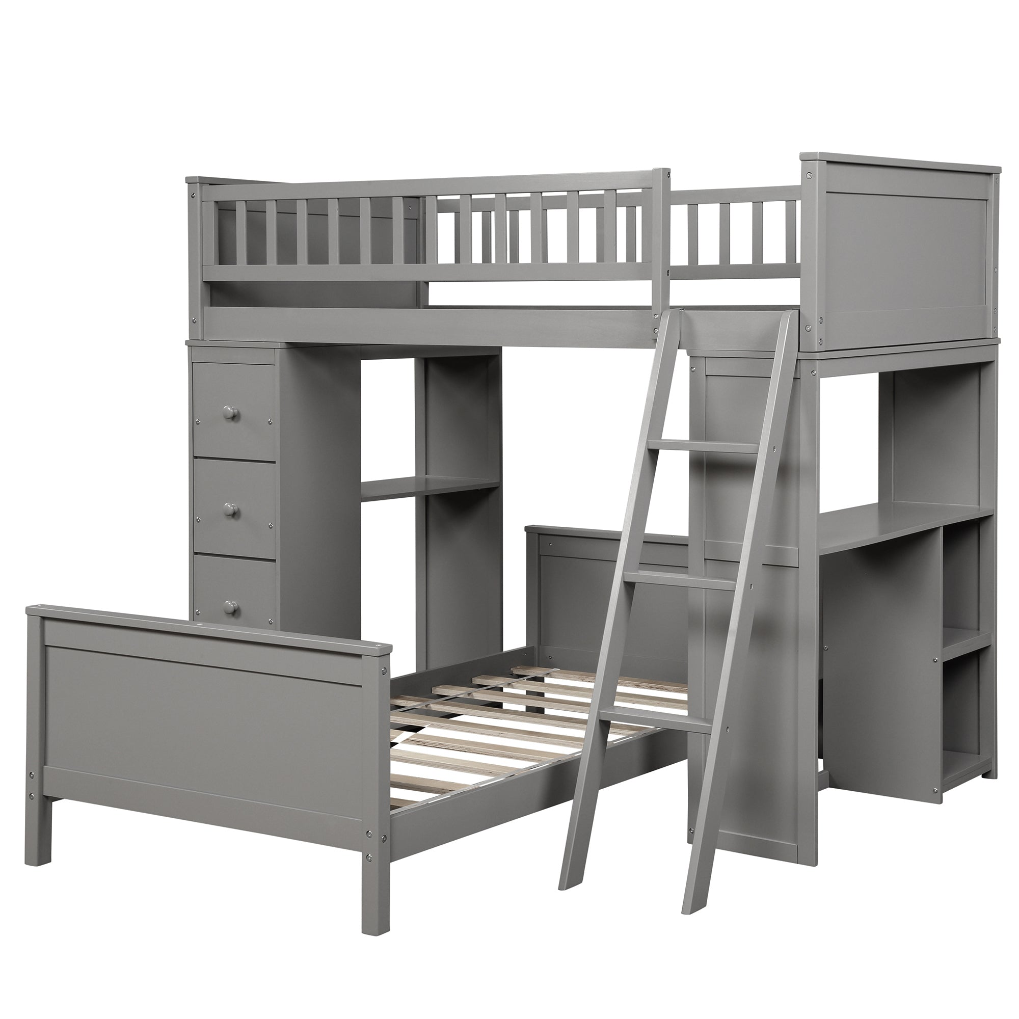 Twin over Twin L-Shaped Bunk Bed with Shelves and 4 Drawers