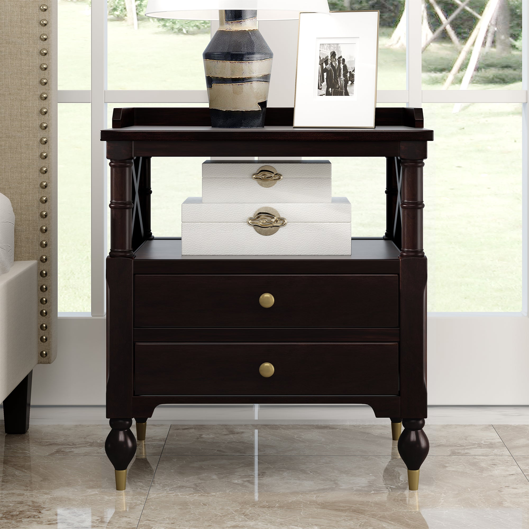 Modern Black 2 Drawer Nightstand For Bedrrom