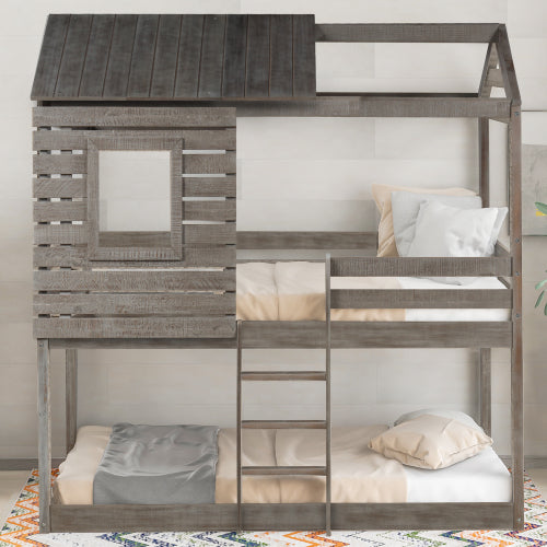 Twin Over Wood Bunk Beds With Roof and Guard Rail For Kids